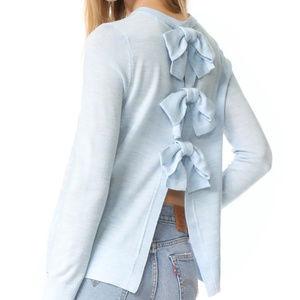 Club Monaco Sidone Bow Cashmere Blue Sweater M